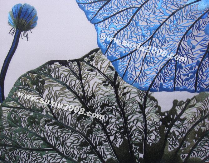 苏绣精品|苏绣礼品|剌绣|挂饰|装饰画|蓝荷叶|筛月