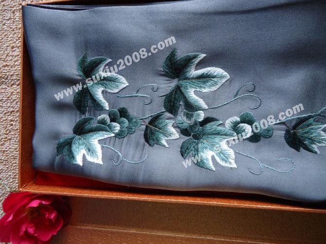 苏绣围巾爬山虎|手工围巾|绣花围巾|真丝围巾|丝绸围巾