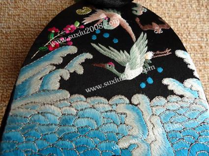 苏绣工艺包|苏绣手提包双鹤