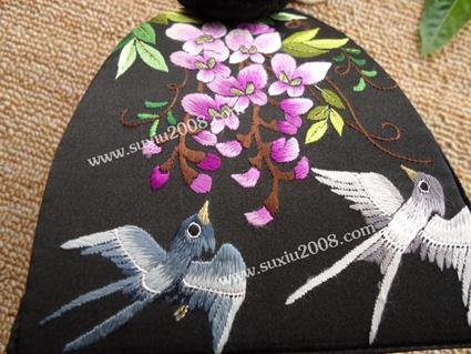 苏绣手提包紫藤花鸟