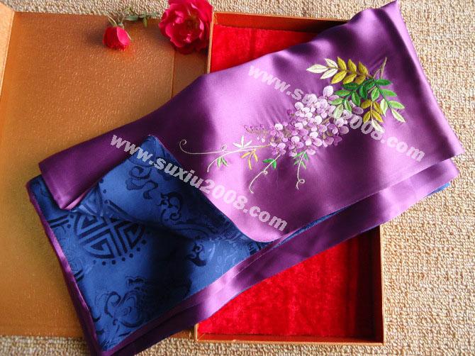 苏绣围巾紫藤花款|手工围巾|绣花围巾|真丝围巾|丝绸围巾