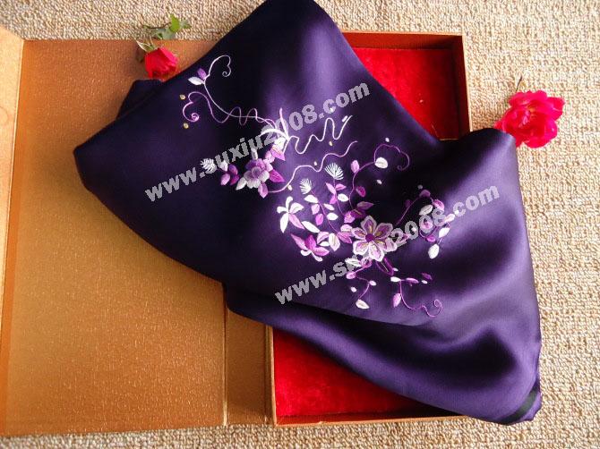 苏绣围巾茉莉花款|手工围巾|绣花围巾|真丝围巾|丝绸围巾