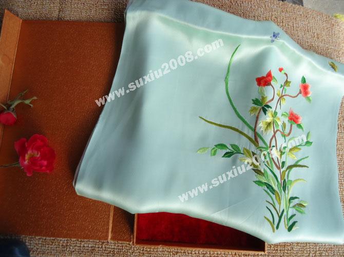 苏绣围巾牡丹花藤|手工围巾|绣花围巾|真丝围巾|丝绸围巾