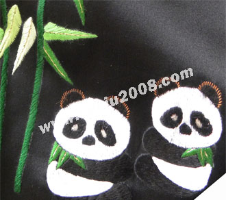 苏绣围巾熊猫竹叶款|手工绣花|真丝围巾