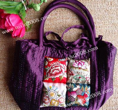 苏绣手拎包紫色|精品真丝绣花包