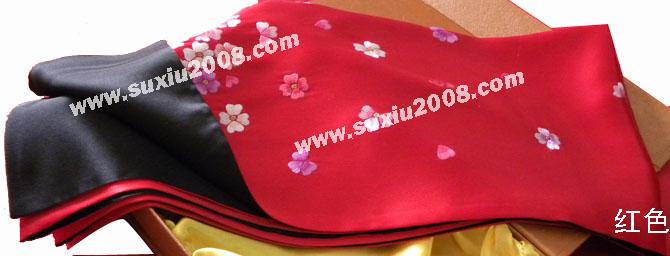 苏绣围巾梅花款|手工绣花|真丝围巾