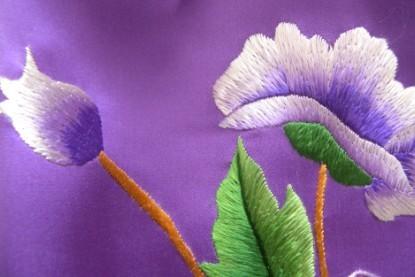苏绣围巾青莲牡丹|手工围巾|绣花围巾|真丝围巾|丝绸围巾