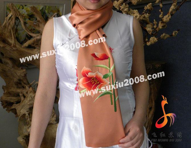 苏绣围巾百合款|手工绣花|真丝围巾