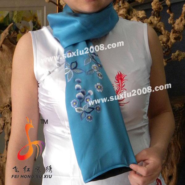 苏绣围巾丁香花