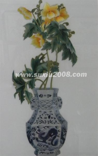 苏绣景泰蓝花瓶