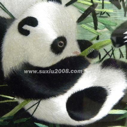 苏绣熊猫亲子图熊宝宝