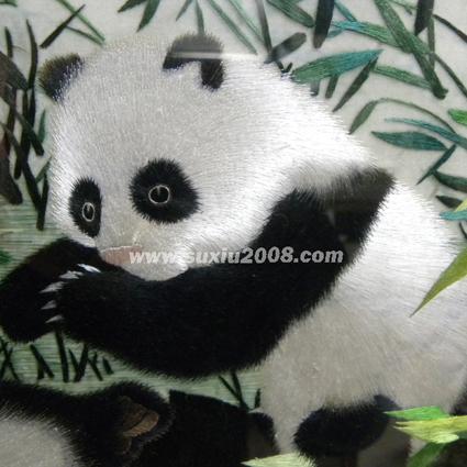 苏绣熊猫亲子图1