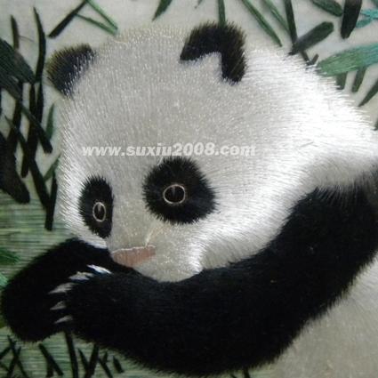 苏绣熊猫亲子图2
