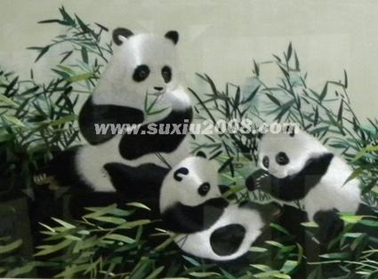 苏绣熊猫亲子图