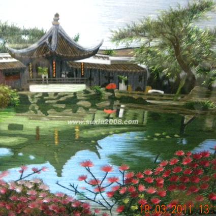 苏绣台屏苏州园林
