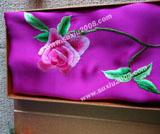 苏绣围巾月季款|手工绣花|真丝围巾