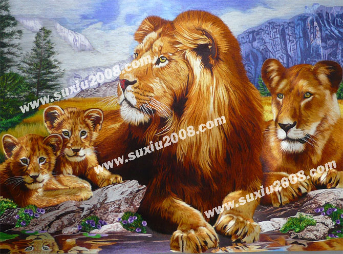 苏绣精品全家乐-狮子