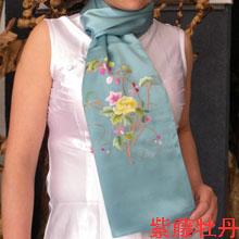 苏绣围巾紫藤牡丹|手工围巾|绣花围巾|真丝围巾|丝绸围巾