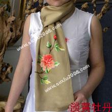 苏绣围巾牡丹|手工围巾|绣花围巾|真丝围巾|丝绸围巾