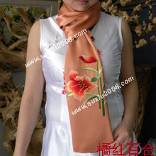 苏绣围巾百合|手工围巾|绣花围巾|真丝围巾|丝绸围巾