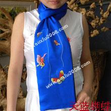 苏绣围巾蝴蝶|手工围巾|绣花围巾|真丝围巾|丝绸围巾