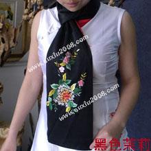 苏绣围巾茉莉|手工围巾|绣花围巾|真丝围巾|丝绸围巾