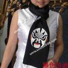 苏绣围巾脸谱|手工围巾|绣花围巾|真丝围巾|丝绸围巾