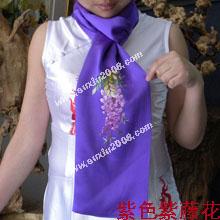 苏绣围巾紫藤花|手工围巾|绣花围巾|真丝围巾|丝绸围巾