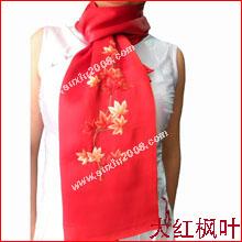 苏绣围巾枫叶|手工围巾|绣花围巾|真丝围巾|丝绸围巾