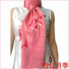 苏绣围巾月季|手工围巾|绣花围巾|真丝围巾|丝绸围巾