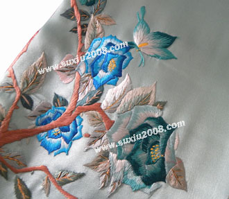 苏绣围巾牡丹款|手工绣花|真丝围巾
