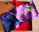 苏绣围巾紫藤花款|手工绣花|真丝围巾