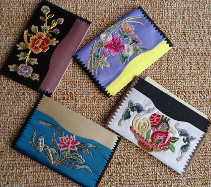 苏绣名片夹|手工绣花名片夹|刺绣名片夹