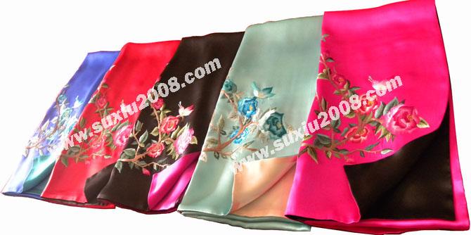 苏绣围巾鸳鸯款|手工绣花|真丝围巾