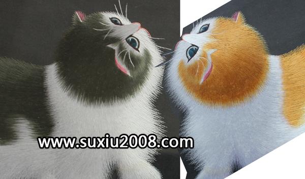 精品苏绣异色绣猫,紫檀木台屏